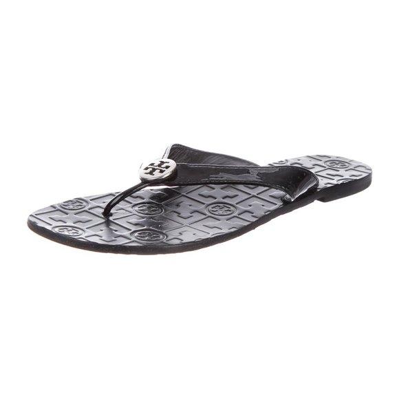"EUC Tory Burch Patent Leather ""Thora"" Flip Flops"